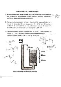 Mecânica dos Solos - Lista de exercícios resolvida - Permeabilidade