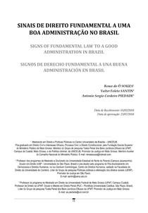 SINAIS DE DIREITO FUNDAMENTAL A UMA BOA ADMINISTRAÇÃO NO BRASIL