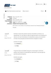 Avaliação Final - Logística Integrada - Suprimentos, Distribuição e Supply Chain