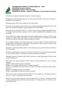 Lista 2   Revisão Unidades de Medidas e Concentração de Soluções
