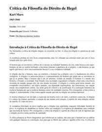 Introdução a critica da filosofia do direito de Hegel - Marx