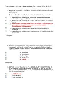 QUESTIONÁRIO - TECNOLOGIA DA INFORMAÇÃO E COMUNICAÇÃO - CCT0203