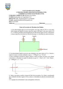 Lista de Exercícios - Vazão em volume, Vazão em Peso, Vazão em massa e Equação da continuidade