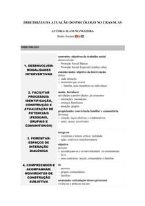 Diretrizes da Atuação do Psicólogo no CRAS/SUAS   Mapa Mental