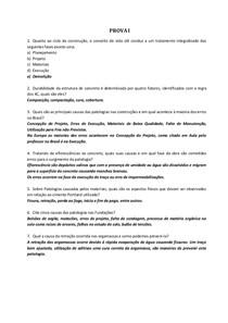 PROVA DE PATOLOGIA DAS CONSTRUÇÕES