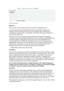 AVALIAÇÃO DISCURSIVA Língua Portuguesa e as Novas Tecnologias da Informação e da Comunicação