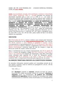Modelo De Ação De Repetição De Indébito Ncpc Direito Civil