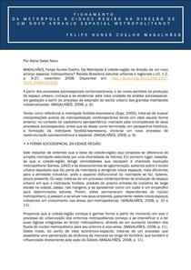 Fichamento - DA METRÓPOLE À CIDADE-REGIÃO NA DIREÇÃO DE UM NOVO ARRANJO ESPACIAL METROPOLITANO docx