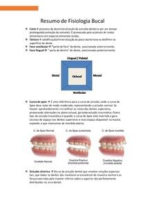 Resumo de Fisiologia Bucal