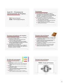 Aula 03 - Processos de Gerenciamento de Projetos