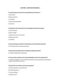 QUESTÕES - ANESTESIA NEUROAXIAL