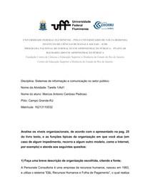 Tarefa 1 (Ad1) (Sistemas de informação e comunicação no setor público) 2018.2