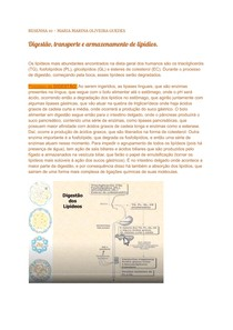 Digestão, transporte e armazenamento de lipídios - Bioquímica 2