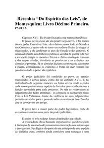 Resenha - Do Espírito das Leis - Montesquieu - Livro XI (parte 5)