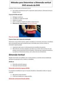 Métodos para Determinar a Dimensão vertical DVO através da DVR