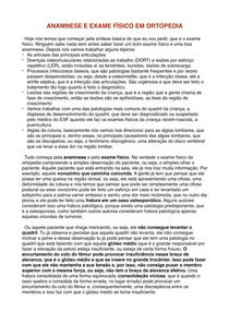 ANAMNESE E EXAME FÍSICO EM ORTOPEDIA