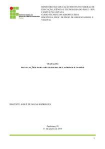INSTALAÇÕES PARA ABATEDOURO DE CAPRINOS E OVINOS