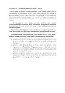 ATIVIDADE 1 - DESENVOLVIMENTO HUMANO E SOCIAL