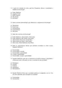 exercícios sociologia