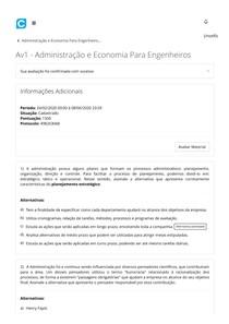 Av1 - Administração e Economia Para Engenheiros