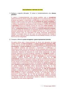 Questões Oncogênese e reparo de DNA ED2