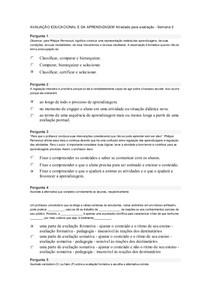AVALIAÇÃO EDUCACIONAL E DA APRENDIZAGEM Atividade para avaliação