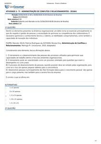 ATIVIDADE 3   TI   ADMINISTRAÇÃO DE CONFLITOS E RELACIONAMENTOS   2018A1