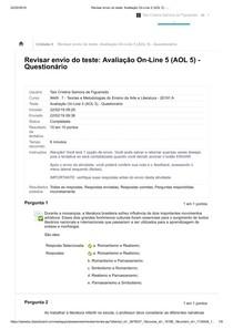 Teorias e Met artes Revisar envio do teste  Avaliação On Line 5 (AOL 5)   ..