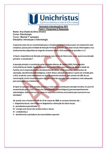 PERGUNTA E RESPOSTAS Seminário NP3 Introdução a Odontologia