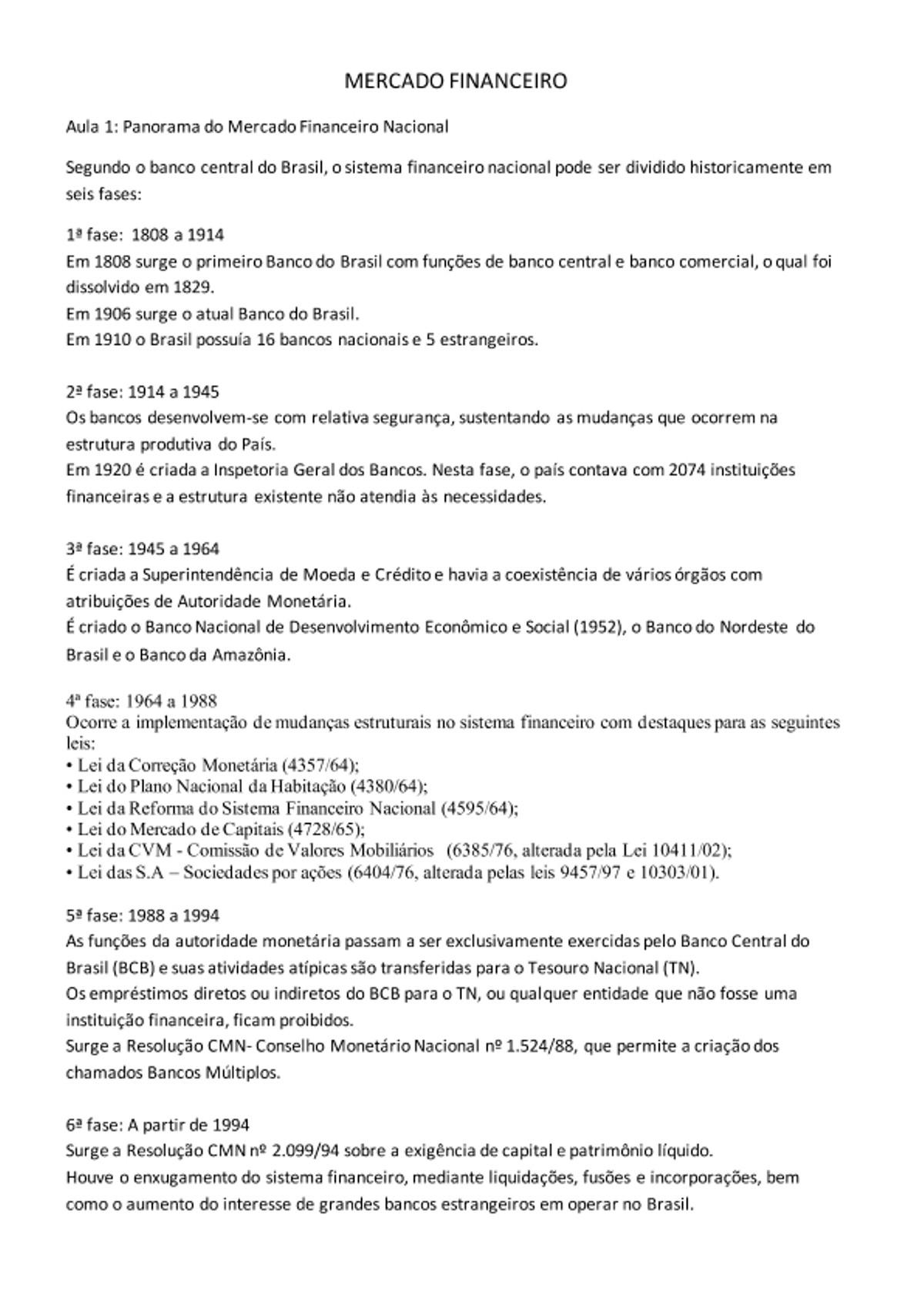 Pre-visualização do material MERCADO FINANCEIRO AULA 1 - página 1