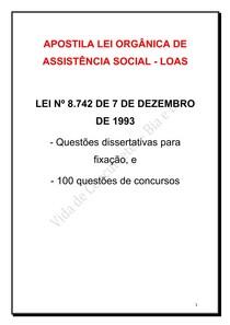 Apostila LOAS - para concursos públicos cargo Assistente Social