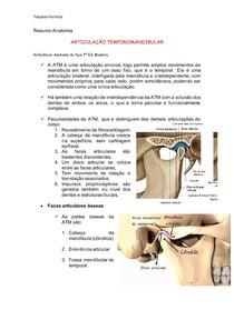 Resumo Anatomia da ATM - Livro Madeira