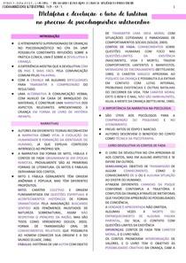 METÁFORA E DEVOLUÇÃO O LIVRO DE HISTÓRIA NO PROCESSO DE PSICODIAGNÓSTICO INTERVENTIVO - RESUMO/FICHAMENTO - 7° SEMESTRE