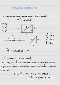 Resumão sobre Conjunto dos numerous Irracionais + Pitagoras