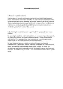 Atividade Embriologia - Teratoma