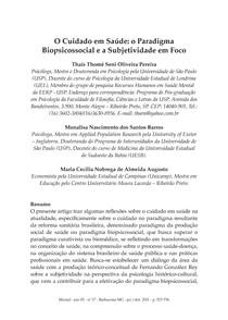 O Cuidado em Saúde o Paradigma Biopsicossocial e a Subjetividade em Foco