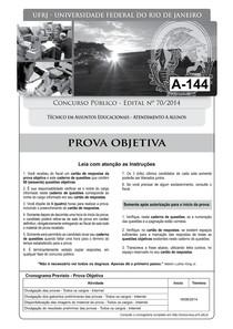 pr 4 ufrj 2014 ufrj tecnico em assuntos educacionais atendimento a alunos prova