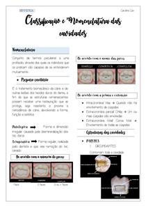 Nomenclatura e classificação das cavidades
