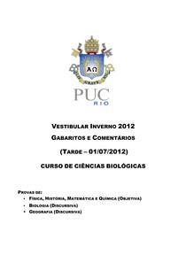 PUC RJ 2012 (2) - GABARITO - Ciências da Natureza (questões objetivas)