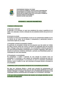 ATIVIDADE 2 - ANÁLISE GRAVIMÉTRICA