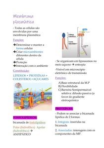 Resumo Citologia: Membrana plasmática