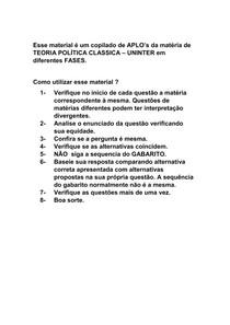 APLO's TEORIA POLÍTICA CLASSICA UNINTER