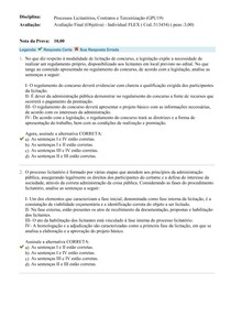 AVA FINAL - Processos Licitatórios, Contratos e Terceirização -