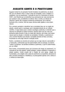 RESUMO - AUGUSTE COMTE E O POSITIVISMO