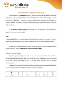 Resumo 09 - Movimento Retilíneo Uniforme (MRU)