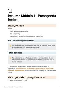 Resumo Módulo 1 - Protegendo Redes - Segurança de Rede CISCO