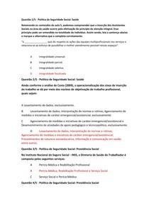 APOL5 POLITICA DE SEGUIRDADE SOCIAL PREVIDÊNCIA E SAUDE
