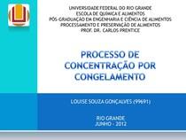 PROCESSO DE CONCENTRAÇÃO POR CONGELAMENTO
