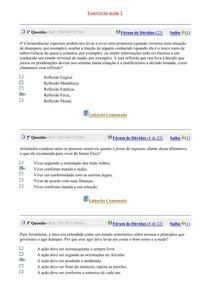 Exercícios aulas 01 a 10 - Filosofia e ética