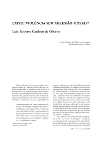 EXISTE VIOLÊNCIA SEM AGRESSÃO MORAL